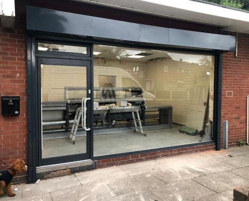 aluminium shop front installed